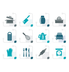 stylized kitchen and household utensil icons vector image vector image