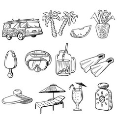 summer vacations doodle icons set vector image