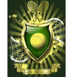 tennis ball on background of the shield vector image