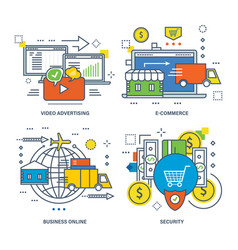 Video advertising e-commerce business security vector