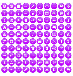 100 combat vehicles icons set purple vector