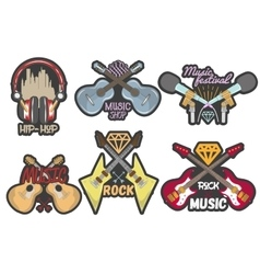 Colorful set of music theme emblems vector