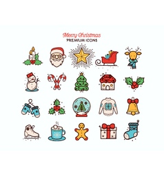 christmas flat thin line icon collection vector image