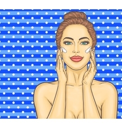 Pop art beautiful young woman makes a face massage vector