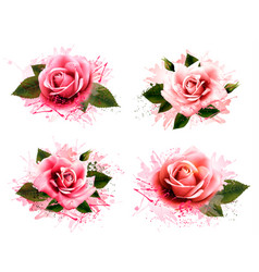 Set of greeting cards with pink roses vector