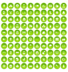 100 kindergarten icons set green circle vector