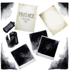 vintage set of watercolor old photographic paper vector image