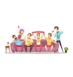 sedentary lifestyle retro cartoon design vector image