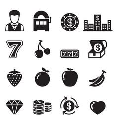 Casino slot machine gambling icons set vector