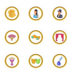 Represent icons set cartoon style vector