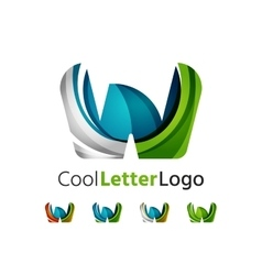 Set of abstract w letter company logos business vector
