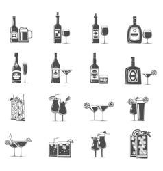 Cocktail icons black vector