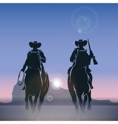 Cowboys silhouettes galloping across the prairie vector