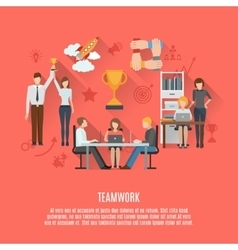 Business teamwork concept flat poster vector