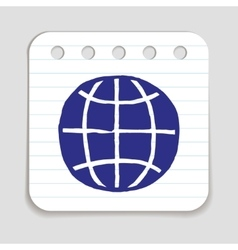 Doodle earth icon vector