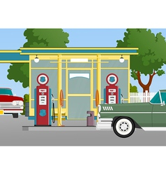 Retro gas station vector