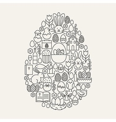 Happy easter line icons set egg shape vector