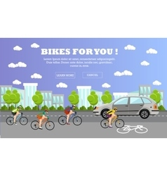 Group of cycle riders on bikes Street with vector image