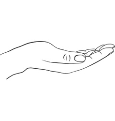 Outstretched hand with empty palm vector