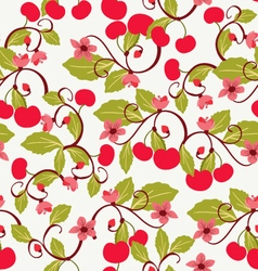 Cute background with cherries and blossom vector