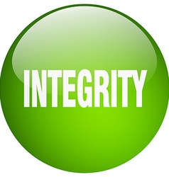 Integrity green round gel isolated push button vector