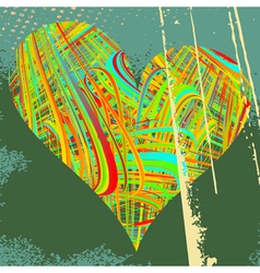 Abstract grunge background with heart of vector image