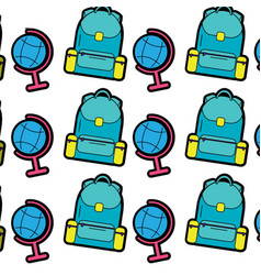 Backpack with earth map school supplies icon image vector