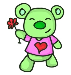 Bear and flower character valentine vector image