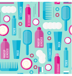 Beauty products seamless pattern vector