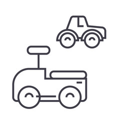 cars toys line icon sign on vector image