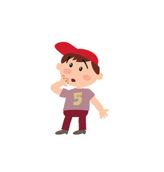 Cartoon character white boy with red cap in surpri vector