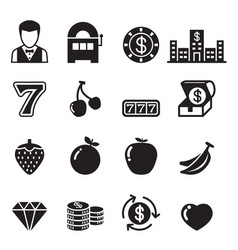 casino slot machine gambling icons set vector image