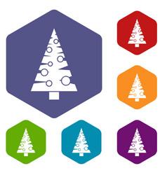 Christmas tree icons set vector