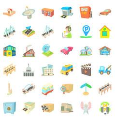 City building icons set cartoon style vector
