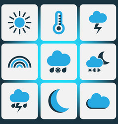 Climate colored icons set collection of fog vector