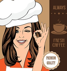 coffee advertising banner with a beautiful lady vector image