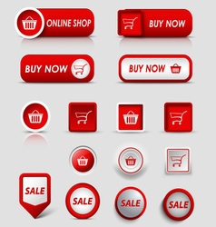 Collection web red buttons and pointers for vector