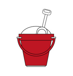 color silhouette image red bucket with sand and vector image