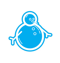 flat color snowman icon vector image vector image