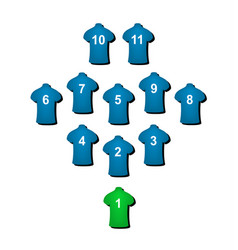 Football formation in blue design vector