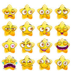 funny cartoon yellow star character stickers vector image vector image