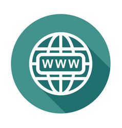 Go to web icon internet flat for website on round vector