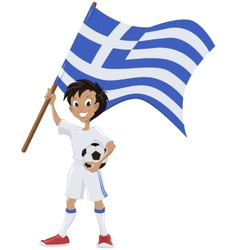 Happy soccer fan holds greece flag vector