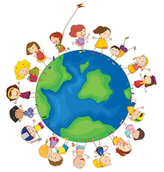 Kids around the globe vector image vector image