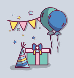 Line gift with balloons and hat birthday vector