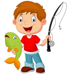 Little boy fishing vector