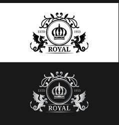 monogram logo template luxury crown design vector image vector image