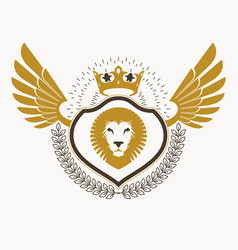 old style heraldic emblem decorated with eagle vector image vector image