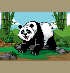 panda cartoon in the bamboo forest vector image