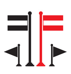 red flag and black flag icon vector image vector image